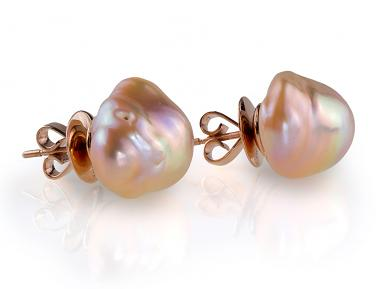 Pink Metallic Baroque Pearl Earrings 17.00 - 20.00 mm