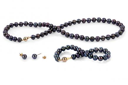 Black Freshwater Classic Pearl Set 7.00 - 7.50mm
