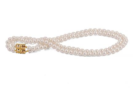 White Double Strands Freshwater Pearl Necklace 9.00 - 9.50mm