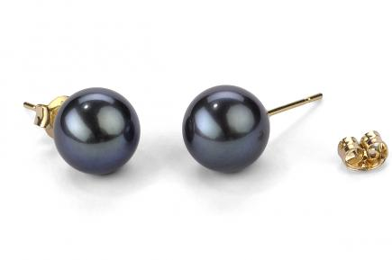 Black Freshwater Pearl Ear Studs 9.00 - 9.50mm