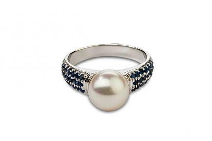 White Freshwater Pearl Sapphire Ring