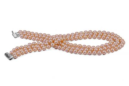 Peach Triple Strands Freshwater Pearl Necklace 7.00 - 7.50mm
