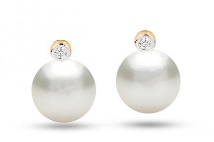 White South Sea Diana Pearl Earrings 11.00-11.50mm
