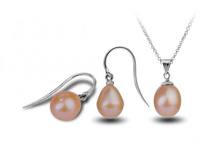 Peach Freshwater Freedom Pearl Set 9.00 - 9.50mm