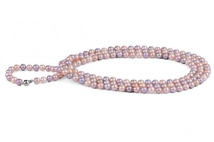 Multi-coloured Freshwater Pearl Necklace 50 inch 7.00 - 7.50mm