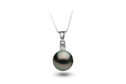 Black Freshwater Diamond 4 Prong Pearl Pendant 8.00 - 8.50mm