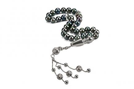 UMI Pearl Tasbih Prayer beads with 925 Sterling Silver Tassel