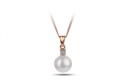 White Freshwater Diamond 4 Prong Pearl Pendant 8.00 - 8.50mm
