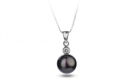 Black Freshwater Diamond Bezel Pearl Pendant 8.00 - 8.50mm