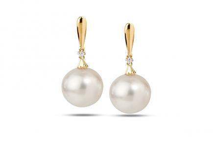 White South Sea YG Selena Pearl Earrings 12.00-13.00mm