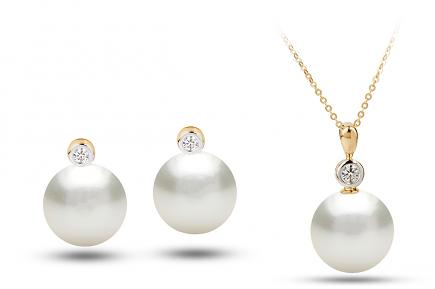 White South Sea Diana Pearl Set 11.00-11.50mm