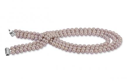 Lavender Triple Strands Freshwater Pearl Necklace 7.00 - 7.50mm