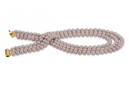 Lavender Triple Strands Freshwater Pearl Necklace 9.00 - 9.50mm