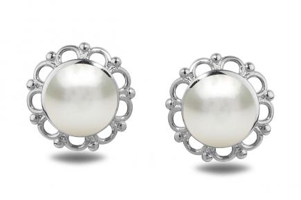White Freshwater WG Flora Pearl Earrings 6.50 - 7.00mm