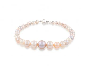 Multi-coloured Graduated Freshwater Pearl Bracelet