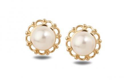 White Freshwater YG Flora Pearl Earrings 6.50 - 7.00mm