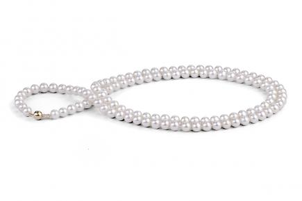 White Freshwater Pearl Necklace 33 inch 7.00 - 7.50mm