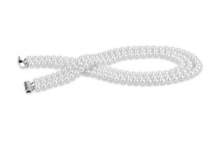 White Triple Strands Freshwater Pearl Necklace 7.00 - 7.50mm