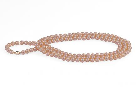 Peach Freshwater Pearl Necklace 50 inch 6.00 - 6.50 mm