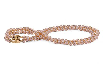Peach Double Strands Freshwater Pearl Necklace 6.00 - 6.50mm