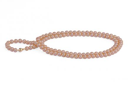 Peach Freshwater Pearl Necklace 33 inch 7.00 - 7.50mm
