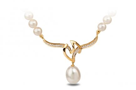 White Freshwater YG Dione Pearl Pendant 9.50 - 10.00mm