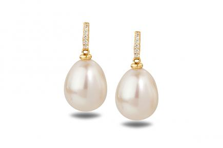 White Freshwater YG Astraia Pearl Earrings 9.00 - 9.50mm