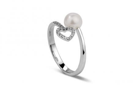 White Freshwater Heart Pearl Ring 6.00 - 6.50mm