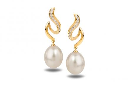 White Freshwater YG Dione Pearl Earrings 9.00 - 9.50mm