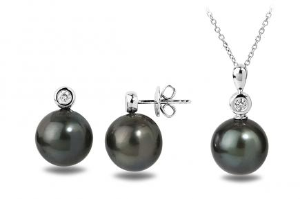 Black Tahitian Diana Pearl Set 12.00-13.00mm