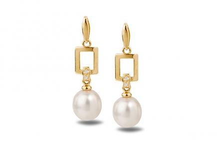 White Freshwater YG Candia Pearl Earrings 7.00 - 7.50mm
