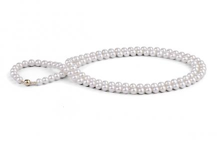 White Freshwater Pearl Necklace 33 inch 6.00 - 6.50mm