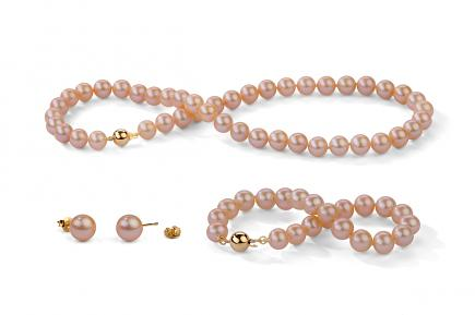 Peach Freshwater Classic Pearl Set 8.00 - 8.50mm