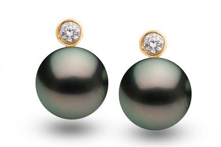 Black Freshwater Pearl Diamond Bezel Earrings 8.00 - 8.50mm