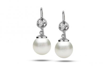 White Freshwater Diamond Star Pearl Earrings 8.00 - 8.50mm